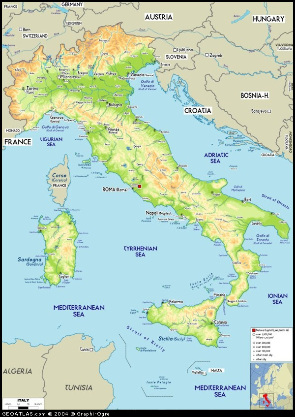 Big Italy Map - Physical map of Italy map, Italy Atlas
