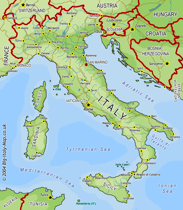 Simple Map Of Italy.Big Italy Map Large Map Of Italy Map Italy Atlas